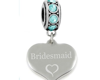 e67f0f96e SanaBelle™ Bridesmaid Personalised Engraved Charm Fits Charm Bracelets  Stainless Steel