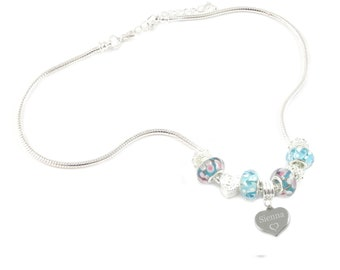 SanaBelle™ Personalised Engraved Name Blue Charm Necklace