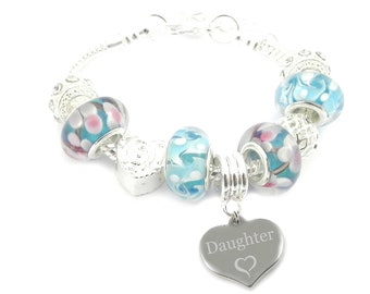 SanaBelle™ Daughter Personalised Engraved Blue Charm Bracelet