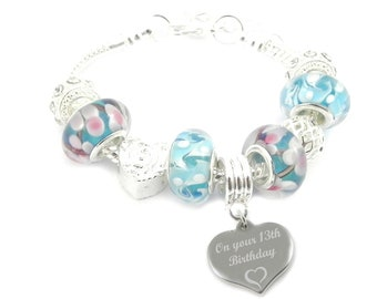SanaBelle™ 13th Birthday Personalised Engraved Blue Charm Bracelet