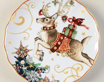 Williams Sonoma (4) SALAD PLATES Twas the Night before Christmas ~ One Reindeer