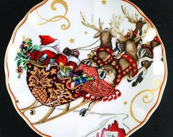 Williams Sonoma (4) SALAD PLATES Twas Night before Christmas Reindeer
