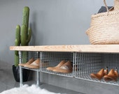 Shoe Storage, Shoe Storage Bench, Entryway Bench, Industrial Bench, Handmade, Wood Bench, Entry Bench, Shoe organiser, Shoe Rack, Bench