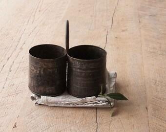 Vintage Pen Holder, Desk Organiser, Office Decor, Home Decor, Kitchen Decor, Plant Pot,Herb Planter, gift, Double Indian Tin with Handle