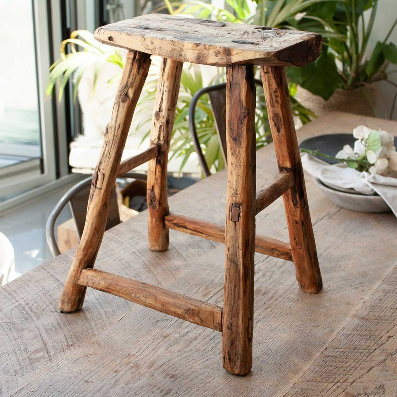 Vintage Rustic Wooden Stool Rustic wooden stool Rustic image 9