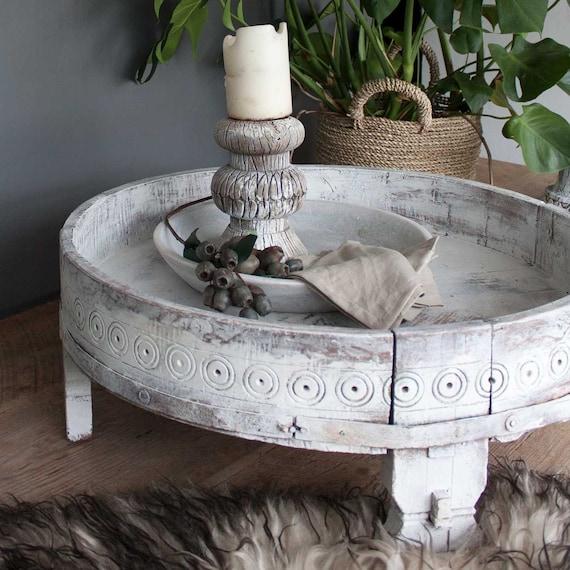 Indische Chakki Tisch, Couchtisch, Vintage, Upcycled Möbel, bemalte Möbel, ethnische, rustikale Wohnkultur, antike Möbel, Möbel,