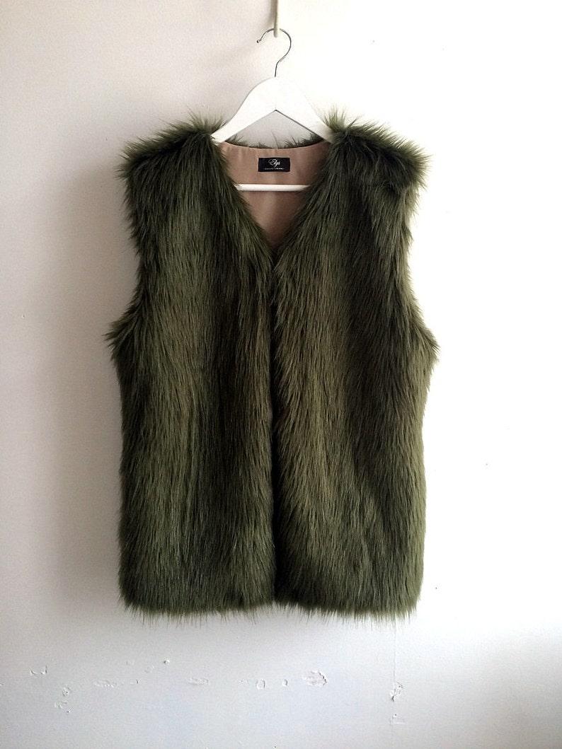 df8151f79f Faux fur vest Green faux fur vest Womens faux fur vests Soft | Etsy