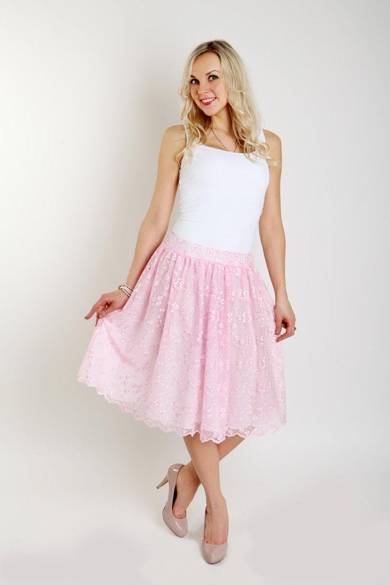 1ffcf4d60 Blush pink lace skirt Ruffles skirt Light pink women lace | Etsy