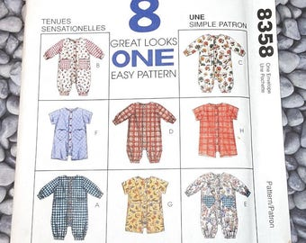 b7693f239d7 UNCUT McCall s 8358 Pattern Infants jumpsuit or romper with snap crotch