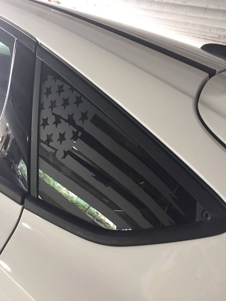 Ford Focus Tattered Flag Rear Window Decal Vinyl