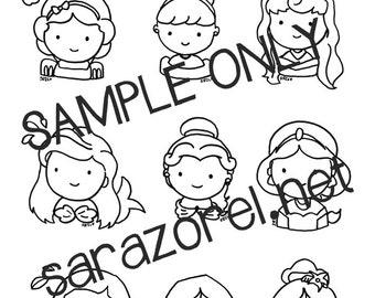 Disney Princess Doodles Coloring Page Printable Chibi Kawaii Cute Characters