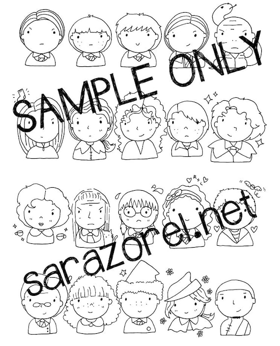 Harry Potter Doodles Coloring Page Printable Chibi Kawaii Cute Characters