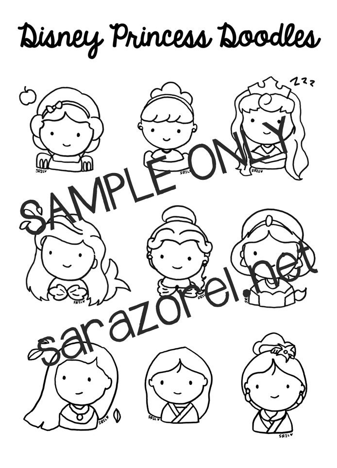 disney princess doodles coloring page printable chibi