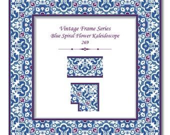 vintage pattern elegant frame series 286 blue spiral round dot etsy