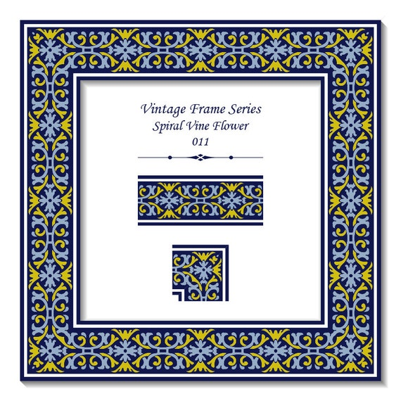 Patrón Vintage elegante marco serie 011 espiral amarillo azul | Etsy