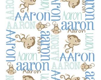 Monkey Baby Blanket Monkey Nursery Theme Monkey Toddler Blanket Navy Gray Baby Blanket Monkey Nursery Personalized MInky Adult Blanket