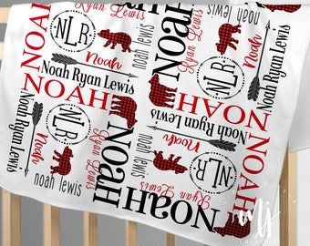 8c00dff4c Bear Baby Blanket - Woodland Baby Blanket - Buffalo Plaid Baby Bedding -  Personalized Baby Blanket - Custom Baby Blanket - Fleece Blanket