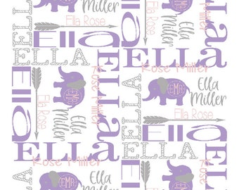 9d53cf84ca4b72 Elephant Baby Name Blanket - Elephant Nursery Blanket - Baby Shower Gift - Personalized  Baby Blanket - Custom Baby Blanket