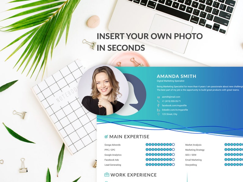 Resume design template, CV template, professional resume template, CV  template word, Modern Resume, creative resume, instant download, photo