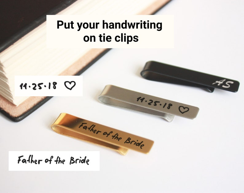 2d4500cd24af Engraved tie bar personalized tie clip handwriting custom tie   Etsy