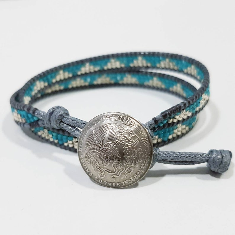 DELPHINE  Double-wrap bracelet with silver and turquoise image 0