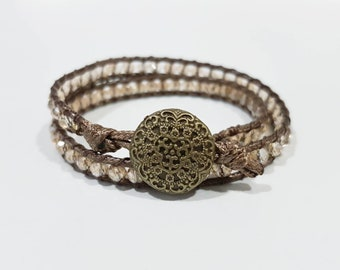 ZAIRA - Double-wrap bracelet in cream/champagne colors | facet beads | glass | detailed button clasp | quality bracelet | 6.3 inch