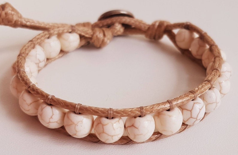 WHITE CRACKLE BEAD bracelet  Leony  bracelet in image 0