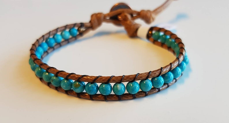 BIRDIE  Single-wrap unisex bracelet  turquoise colour image 0