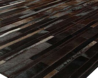 233 Home Brown Patchwork Cowhide Rug Cube Design No