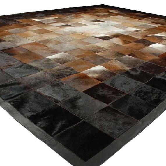 Beige, marron et noir en cuir tapis carrés Design n ° 224 - tailles  personnalisées