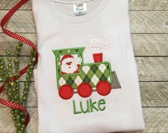 8dcf60b1f Boys Christmas outfit, Christmas train shirt, Toddler Boy Christmas, Baby  Boy Christmas, Santa train shirt, Boys Christmas shirt
