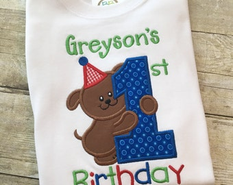 First birthday boy shirt - 1st birthday - Puppy First Birthday -Boy first birthday outfit - Personalized birthday - Puppy Dog birthday