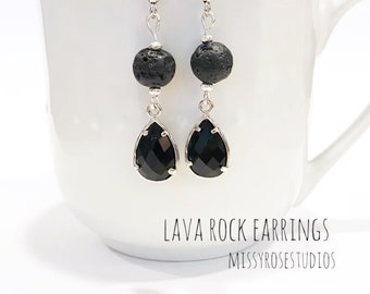 black lava earrings, lava bead earrings, lava stone earrings, lava jewelry, jewelry handmade, essential oil jewelry for women, lava crystal