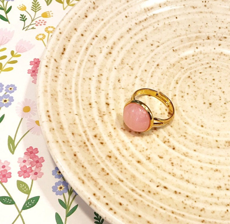 pink and gold ring pink stone rings for women pink pearl image 0