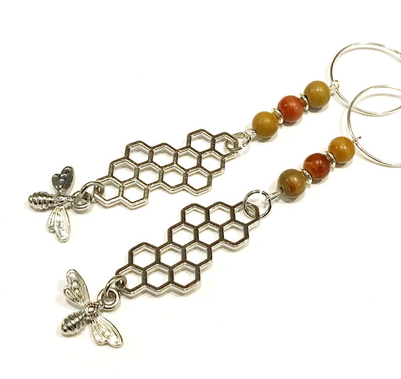 bee lovers gift silver bee earrings honey bee earrings image 0