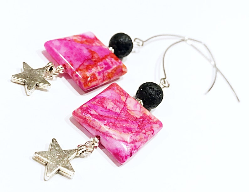 pink agate earrings lava bead earrings plume agate earrings image 0