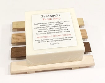 patchouli essential oil soap, all natural soap, rustic bathroom decor, soap with soap dish, thank you gift, Michigan made soap