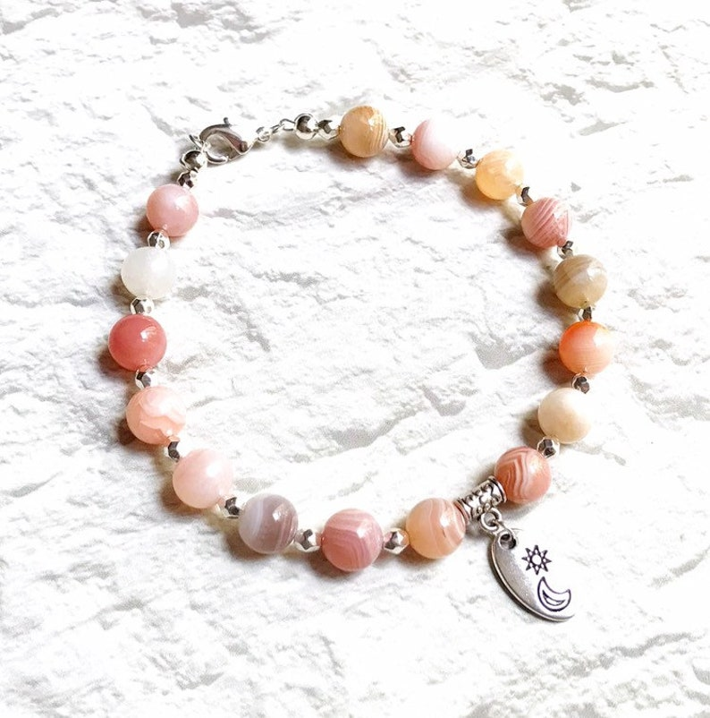 botswana agate bracelet peach gemstone bracelet calming image 0