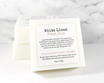 fresh linen soap bar   laundry scent   clean scented   small holiday gift   hostess gift   secret santa gift   coworker gift