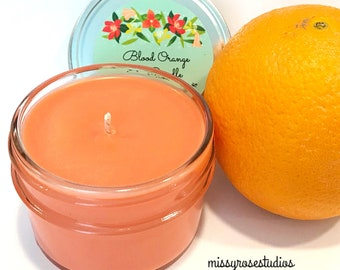 blood orange candle, soy candles handmade, soy candles in a jar, 4oz soy candle, summer candles, homemade candles, eco friendly gifts