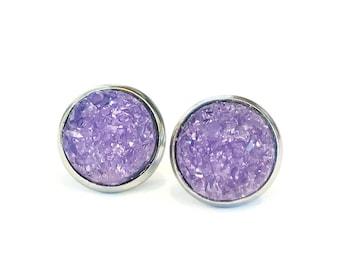 lavender purple earrings, stainless steel jewelry, jewelry handmade, large stud earrings, michigan made jewelry, teen girl gifts handmade