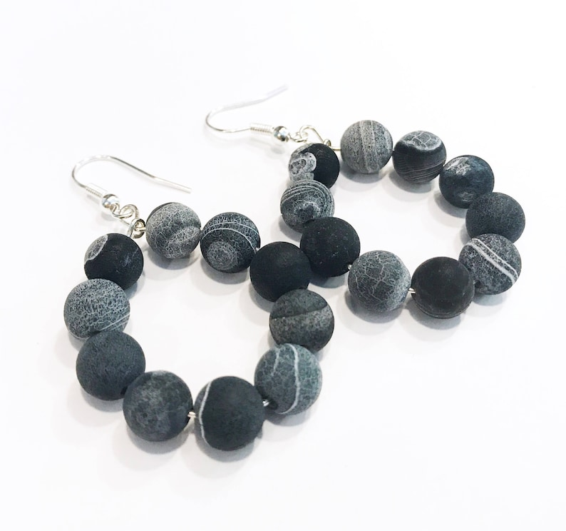 beaded earrings hoops black agate earrings earrings image 0