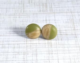 olive green stud earrings handmade, marble earrings studs, wood resin earrings, geometric jewelry women, modern style jewelry