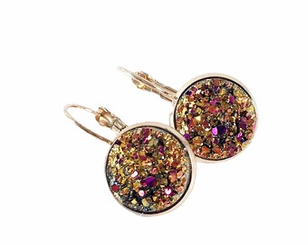 gold druzy earrings leverback   earrings handmade   michigan made jewelry   gifts for women friends   druzy jewelry handmade