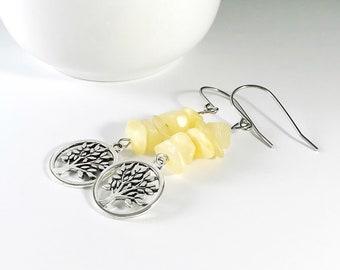 aragonite earrings gemstone   goddess stone earrings   anger stone   earth healer   jewelry handmade in Michigan   tree of life