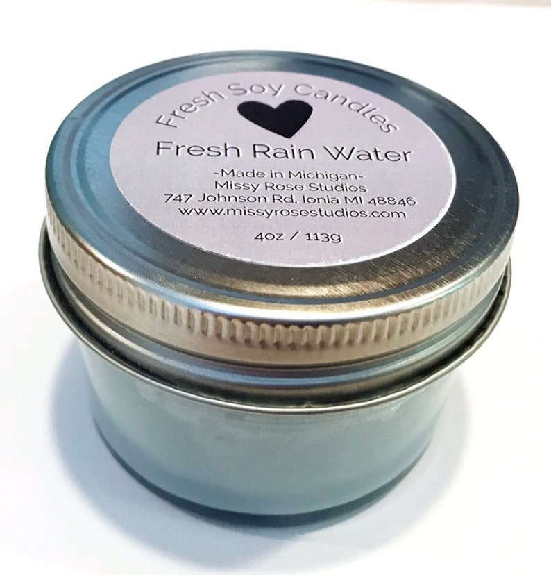 fresh rain water candle soy candles handmade michigan gifts image 0