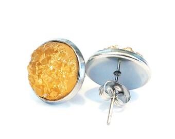 golden orange stardust earrings, large stud earrings, stainless steel jewelry, gifts under 20, michigan made jewelry, lightweight earrings