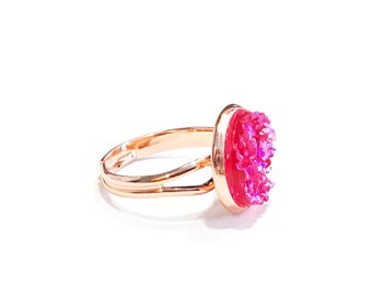 adjustable rose gold ring, hot pink ring, large pink ring, chunky rings for women, neon pink jewelry, bling ring, hot pink glitter ring