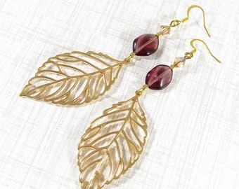 gold leaf earrings dangle   statement earrings handmade   gold and purple accessories   nature inspired jewelry   made in Michigan