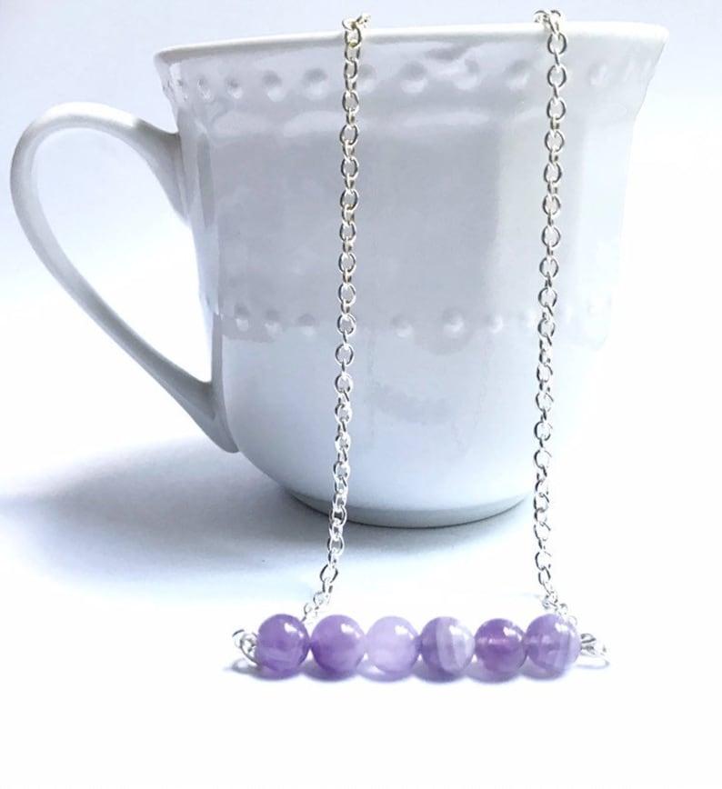 amethyst bar necklace amethyst bead necklace purple gemstone image 0